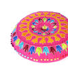 "Pink Orange Blue Embroidered Boho Decorative Round Colorful Floor Pillow Meditation Cushion Cover - 24"" 2"