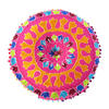 "Pink Orange Blue Embroidered Boho Decorative Round Colorful Floor Pillow Meditation Cushion Cover - 24"" 3"