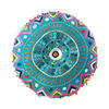"""Teal Blue Green Pink Round Decorative Colorful Floor Cushion Meditation Pillow Seating Throw Cover - 24"""" 3"""
