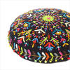 """Black Boho Embroidered Round Bohemian Colorful Floor Seating Meditation Pillow Cushion Throw Cover - 24"""" 2"""