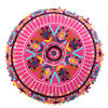"""Pink Embroidered Round Decorative Seating Boho Colorful Floor Pillow Meditation Cushion Cover - 24"""" 3"""