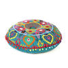 """Teal Blue Green Embroidered Seating Boho Round Floor Meditation Pillow Cushion Pouf Cover - 24"""" 1"""