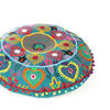 """Teal Blue Green Embroidered Seating Boho Round Floor Meditation Pillow Cushion Pouf Cover - 24"""" 2"""