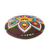 """Brown Boho Embroidered Decorative Seating Bohemian Round Floor Pillow Meditation Cushion Pouf Cover - 24"""" 1"""