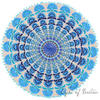 """Blue Turquoise Embroidered Boho Mandala Round Floor Pillow Meditation Cushion Seating Throw Cover - 24"""" 3"""