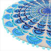 """Blue Turquoise Embroidered Boho Mandala Round Floor Pillow Meditation Cushion Seating Throw Cover - 24"""" 4"""