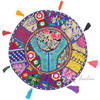 Blue Boho Bohemian Round Decorative Seating Floor Cushion Meditation Pillow Throw Cover - 17""