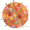 "Orange Round Boho Decorative Seating Bohemian Colorful Floor Meditation Cushion Pillow Throw Cover - 32"""