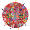 """Red Patchwork Round Boho Colorful Floor Seating Pillow Bohemian Throw Meditation Cushion Cover - 32"""""""