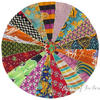 Round Vintage Multicolor Kantha Boho Decorative Seating Floor Meditation Cushion Pillow Cover - 28""