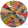 Round Bohemian Multicolor Kantha Boho Decorative Seating Floor Meditation Cushion Pillow Cover - 28""