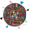 Black Decorative Patchwork Round Colorful Floor Cushion Seating Meditation Pillow Boho Throw Cover- 17""