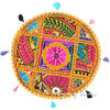 Yellow Colorful Patchwork Round Floor Cushion Boho Bohemian Seating Pillow Throw Cover - 17""