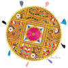 Yellow Colorful Decorative Rajkoti Patchwork Round Floor Meditation Bohemian Pillow Cushion Throw Cover - 17""