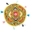 Yellow Colorful Decorative Patchwork Round Floor Meditation Bohemian Pillow Cushion Seating Throw Cover - 17""