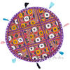 Purple Decorative Patchwork Bohemian Boho Round Floor Pillow Meditation Cushion Seating Throw Cover - 17""