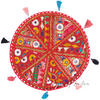 Round Red Patchwork Decorative Rajkoti Colorful Floor Cushion Seating Meditation Pillow Throw Cover - 17""