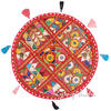 Round Red Patchwork Decorative Colorful Floor Cushion Seating Meditation Pillow Throw Cover - 17""