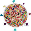 White Bohemian Decorative Patchwork Boho Round Floor Cushion Seating Meditation Pillow Throw Cover - 17""