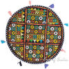 Black Colorful Patchwork Decorative Rajkoti Round Floor Cushion Bohemian Seating Pillow Throw Cover - 22""