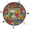 Black Colorful Patchwork Decorative Round Floor Cushion Bohemian Seating Pillow Throw Cover - 22""
