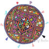 Round Colorful Boho Blue Decorative Bohemian Patchwork Floor Meditation Pillow Throw Cover - 22""