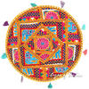 Yellow Decorative Boho Patchwork Round Floor Meditation Pillow Bohemian Cushion Seating Throw Cover - 22""