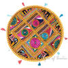 Yellow Decorative Rajkoti Boho Patchwork Round Floor Meditation Pillow Bohemian Cushion Throw Cover - 22""