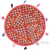 Red Decorative Rajkoti Seating Bohemian Boho Patchwork Round Floor Pillow Meditation Cushion Throw Cover - 22""