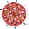 Red Decorative Seating Bohemian Boho Patchwork Round Floor Pillow Meditation Cushion Throw Cover - 22""