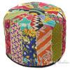 "Small Kantha Bohemian Embroidered Boho Ottoman Pouf Pouffe Cover Round - 16 X 10"""