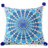 "Blue Turquoise Colorful Decorative Embroidered Mandala Boho Couch Cushion Pillow Sofa Throw Cover - 16"" 1"