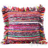 Burgundy Red Chindi Decorative Throw Pillow Cushion Boho Rag Rug Bohemian Cover - 20""