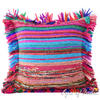 Blue Chindi Decorative Boho Rag Rug Bohemian Throw Pillow Couch Cushion Cover - 20""