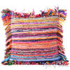 Orange Chindi Decorative Boho Rag Rug Bohemian Throw Pillow Couch Cushion Cover - 20""
