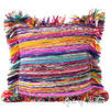 Purple Chindi Colorful Decorative Boho Rag Rug Bohemian Sofa Throw Pillow Couch Cushion Cover - 20""