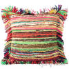 Yellow Chindi Colorful Decorative Sofa Throw Pillow Couch Cushion Boho Rag Rug Bohemian Cover - 20""