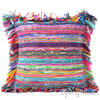 Blue Red Chindi Colorful Decorative Sofa Throw Couch Pillow Cushion Boho Rag Rug Bohemian Cover - 24""