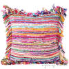 Purple Chindi Decorative Boho Rag Rug Bohemian Throw Pillow Couch Cushion Cover - 24""