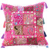"""Pink Patchwork Colorful Decorative Sofa Throw Couch Pillow Bohemian Cushion Cover with Shells - 16"""""""