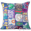 Blue Patchwork Bohemian Colorful Throw Pillow Boho Couch Sofa Cushion Cover - 16""