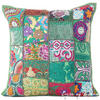 Green Patchwork Colorful Decorative Bohemian Sofa Throw Pillow Boho Couch Cushion Cover - 16""