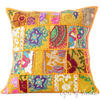 Yellow Patchwork Colorful Decorative Boho Bohemian Sofa Throw Pillow Couch Cushion Cover - 16""