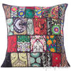 Black Patchwork Colorful Decorative Sofa Throw Pillow Boho Bohemian Couch Cushion Cover - 20""