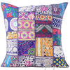 Blue Patchwork Colorful Decorative Bohemian Boho Sofa Throw Pillow Couch Cushion Cover - 20""