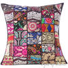 Black Embroidered Patchwork Boho Sofa Colorful Throw Pillow Bohemian Couch Cushion Cover - 24""