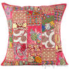 """Burgundy Red Patchwork Bohemian Throw Pillow Boho Couch Sofa Cushion Cover - 24"""""""