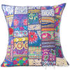 Blue Patchwork Colorful Decorative Boho Bohemian Pillow Couch Cushion Sofa Throw Cover - 24""