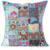 Light Blue Patchwork Bohemian Throw Pillow Boho Couch Sofa Cushion Cover - 24""