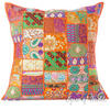 Orange Patchwork Colorful Decorative Pillow Couch Cushion Sofa Throw Cover Boho Bohemian- 24""
